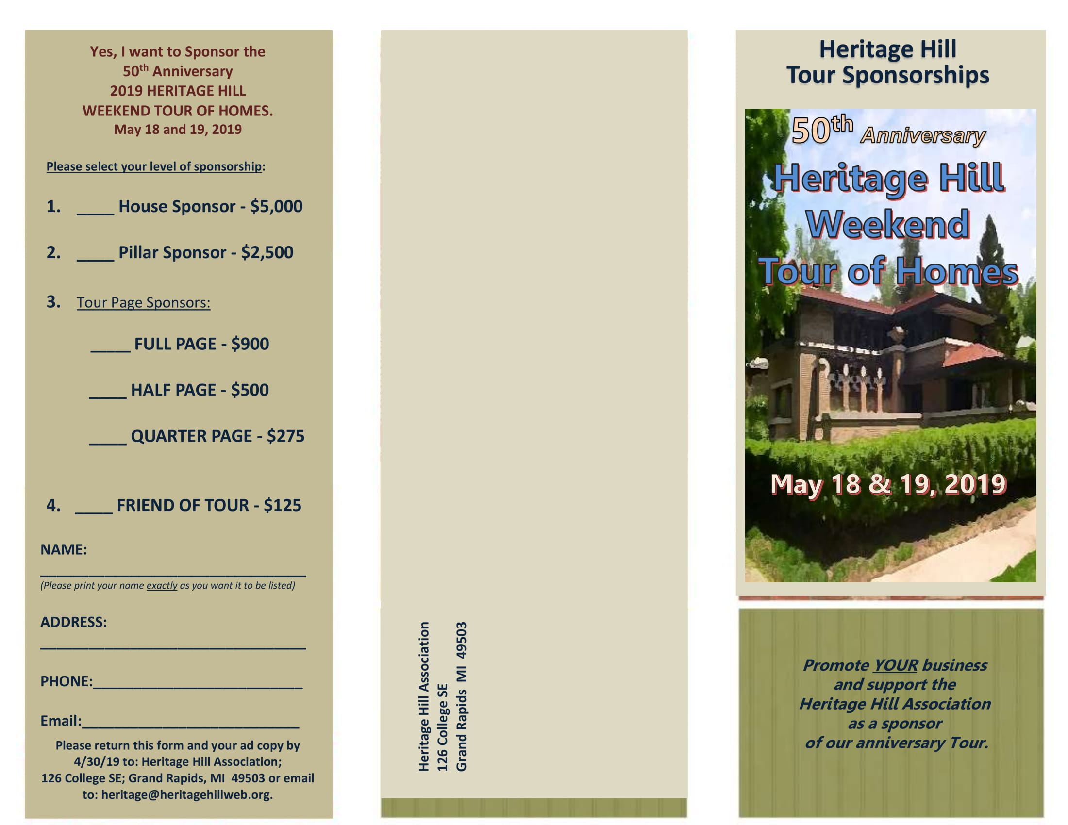 Sponsorship Opportunities for the 2020 Heritage Hill Annual
