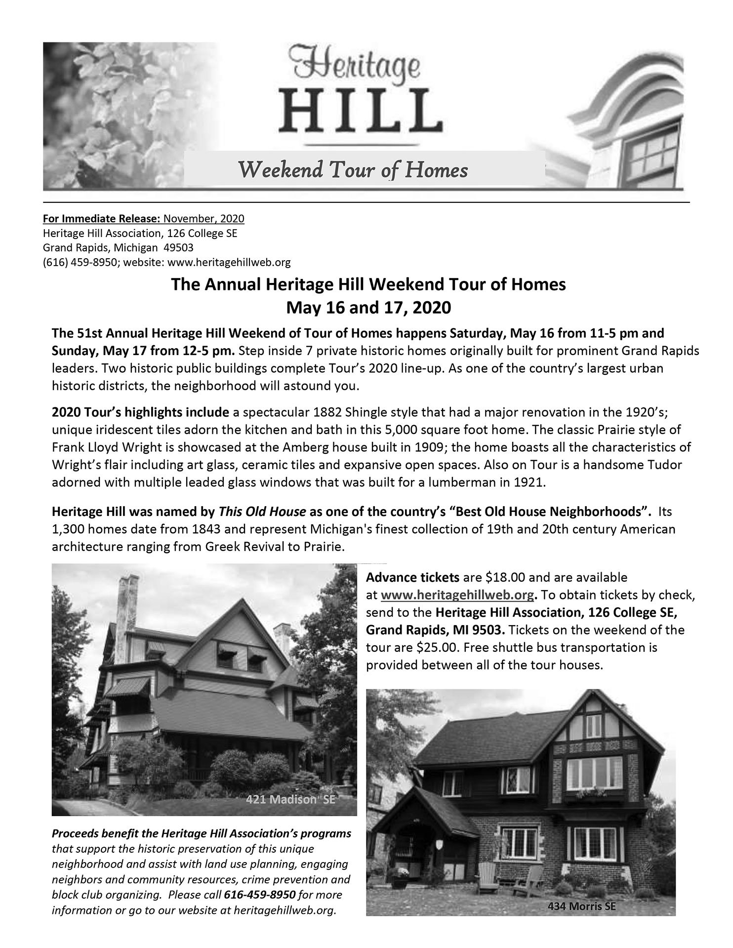 Heritage Hill Home Tour 2020 press release - click for PDF